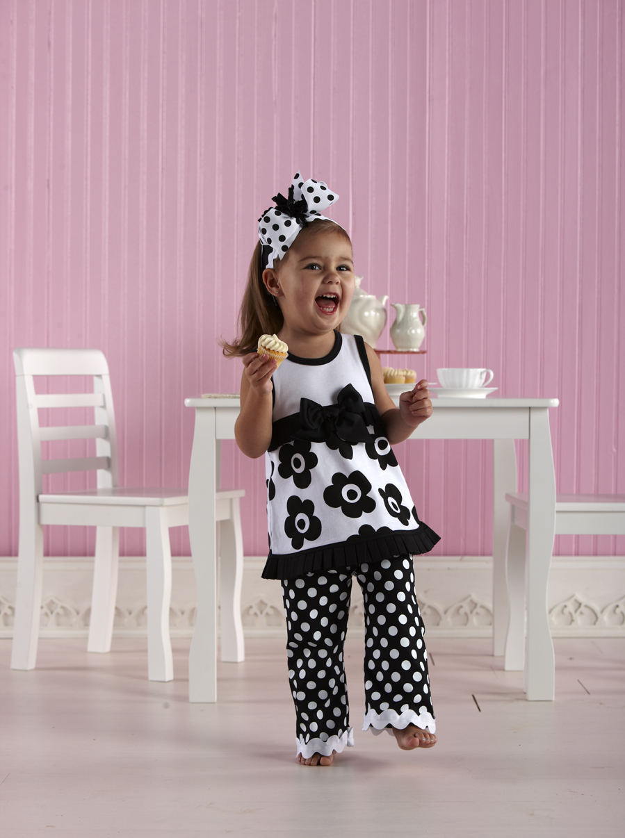 Mud Pie Pleated Ruffle Dress with Bell Bottoms