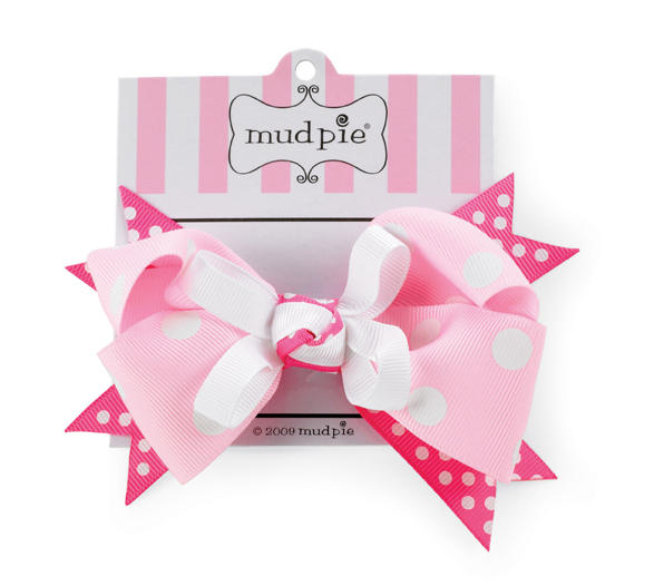 Mud Pie White Dots on Pink Bow