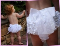 RuffleButts Woven White Bow Bloomers