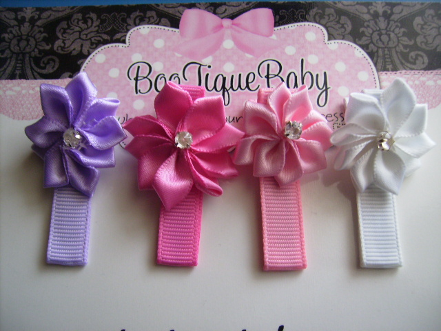 Diamonte Flower Hair Clips