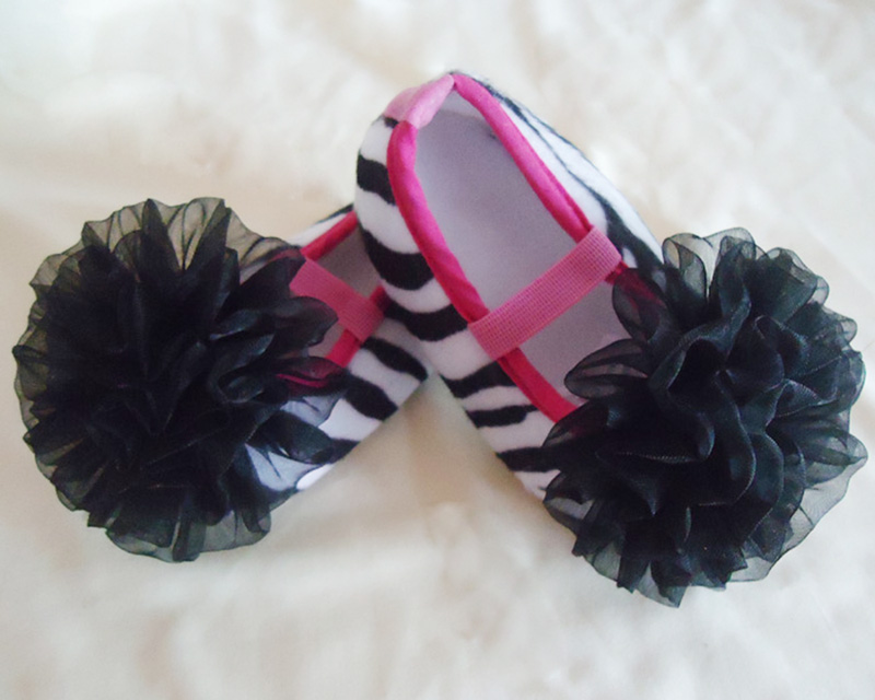 Zebra Booties w/Black Tulle
