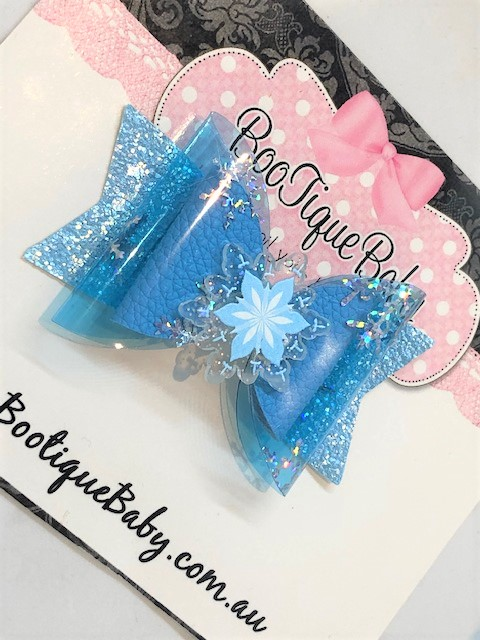 Snow Flake Frozen Inspired Bow