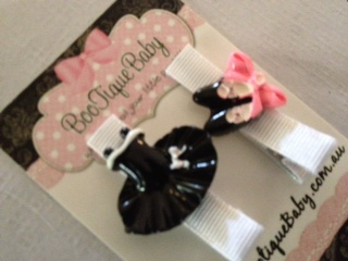Ballerina Hair Clip Set Black/White