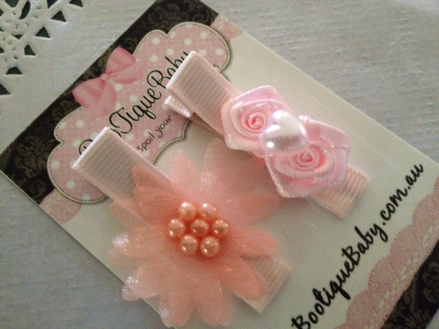 Girls Pink Flower Hair Clip Set