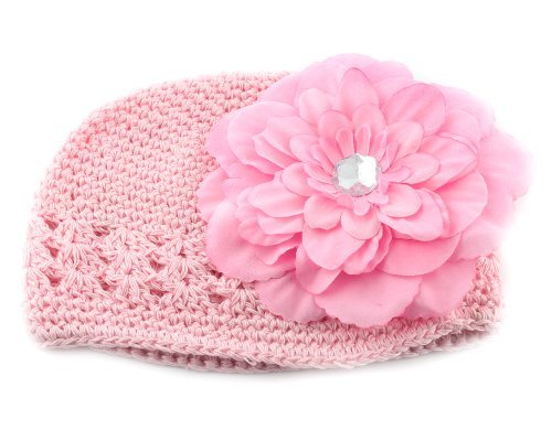 Baby/Girls Crochet Pink Hat with Flower