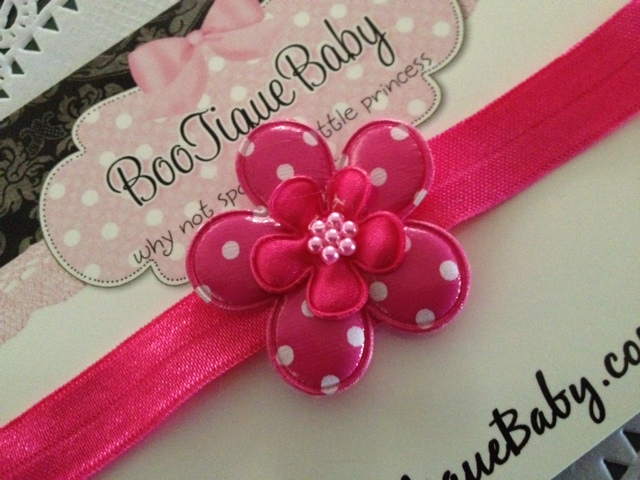 Hot Pink Polka Dot Headband